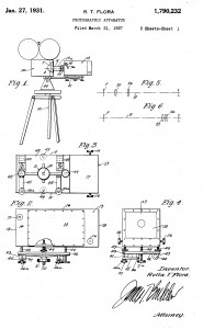 "Image from Rolla T. Flora patent for a ""Photographic Apparatus"" (US 1,790,232)"