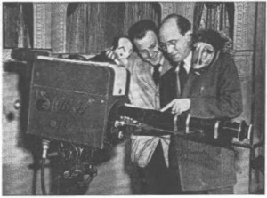 Frank Back and Burr Tillstrom with a Zoomar lens on the set of Kukla, Fran and Ollie